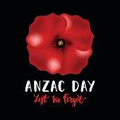 Vector Illustration Of A Bright Poppy Flower Anzac Day Symbol Vector