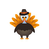 Vector illustration of a cartoon Thanksgiving Turkey with a hat.