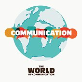 Vector illustration of a communication concept. The word 'communication' with colorful dialog speech bubbles over world map
