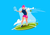 vector illustration of a female tennis player playing tennis on the court