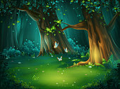 Vector cartoon illustration of background forest glade. Bright wood with butterflies. For design game, websites and mobile phones, printing.