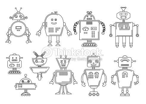 Ilustración De Vector De Un Robot Diseño De Carácter Mecánico Set De ...