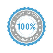 Vector illustration of a round icon satisfaction is guaranteed with asterisks on a white background.