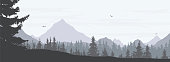 Vector illustration of a snowy winter mountain landscape with coniferous forest, valley and flying birds in a gray sky with clouds - widescreen vector