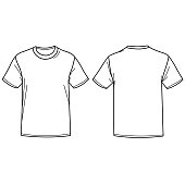 Front and back view of a t-shirt. Vector illustration
