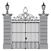 vector illustration of a wrought iron gate.