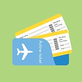 Vector illustration of airline tickets. Flat style.