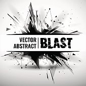 Abstract pink black explosion. Vector illustration.abstract image of explosion, illustration background, dark matter, the explosion effect. With the image of the heart.