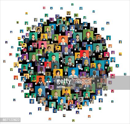 Vector illustration of an abstract scheme, which contains people icons : stock vector