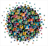 Social network scheme, which contains flat people icons.