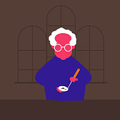 Vector illustration of an old man. Repairing the clock. Watchmaker. For web, design, signage
