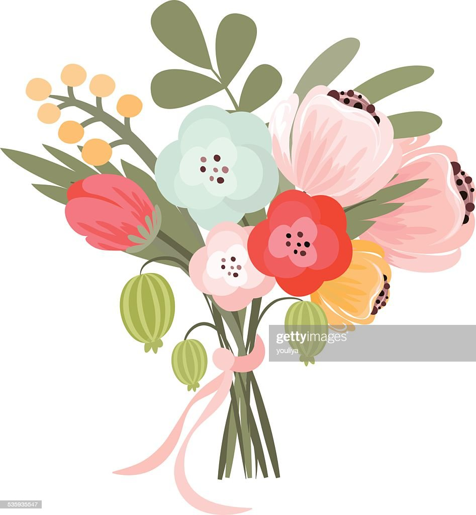 Vector illustration of beautiful bridal bouquet : Vector Art