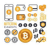 Vector illustration of bitcoin design elements. Bitcoin coin icon, symbol and label. Crypto currency technology. Vector illustration