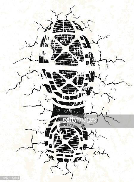 Vector illustration of black shoe track and cracks