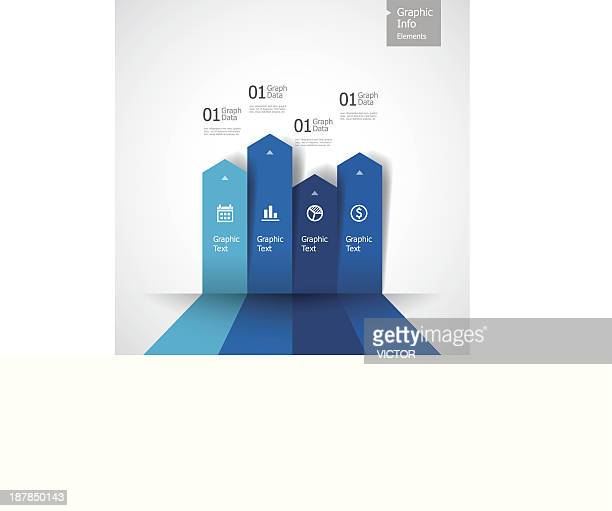 Vector illustration of blue bar graph