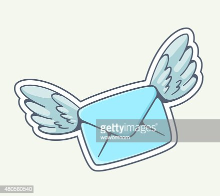 Vector illustration of blue envelope with wings flying : Vector Art