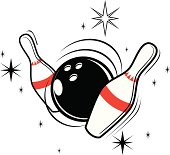 Detailed illustration of bowling ball and pins.