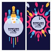 Bowling backgrounds, icons and elements for banner, poster, flyer, label design. Abstract vector illustration of bowling game. Colorful bowling ball, bowling pins on black background.