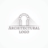 Design element with gray brick round arch line style icon with sample text for some architecture business on white background. Vector illustration