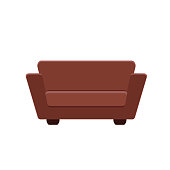 Simple couch icon in flat style. Vector illustration isolated on white background