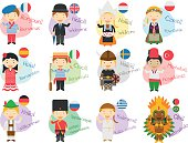 Vector illustration of cartoon characters saying hello and welcome in 12 different languages: english, french, spanish, german, italian, russian, dutch, sweden, greek, polish, turkish and portuguese o