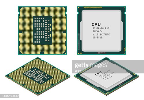 Vector illustration of central processing unit or CPU in flat and isometric styles : stock vector