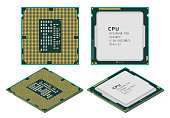 Vector illustration of central processing unit or CPU in flat and isometric styles