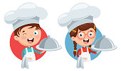Vector Illustration Of Chef Kid Cooking