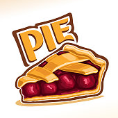 Vector illustration of Cherry Pie, slice of homemade fresh confectionery with fruit filling isolated on white background, piece of traditional rustic cherry pie with lattice of dough for xmas holiday.
