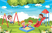 Vector Illustration Of Children At Park