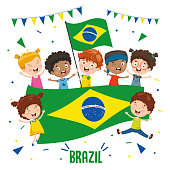 Vector Illustration Of Children Holding Brazil Flag