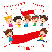 Vector Illustration Of Children Holding Poland Flag