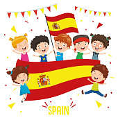 Vector Illustration Of Children Holding Spain Flag