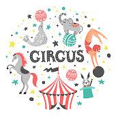 Vector illustration of circus animal. Cute cartoon characters. Set