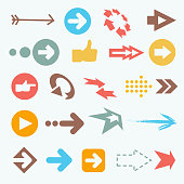 Vector illustration of color arrow icons. Big arrow collection