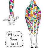 Vector illustration of colorful giraffe with place for your text.