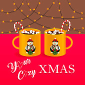 Vector Illustration of Cozy Christmas with Mugs of Hot Chocolate. Drawing of New Year Atmosphere with Garland, Candy Cane, Marshmallow and Snowman. Usable for Greeting Cards, Flyers, Banners and etc