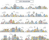 Vector illustration of different summer city landscape on white background. Set of urban european retro color detailed city with tree, cloud, air balloon. Thin line art design for web, site, advertisi
