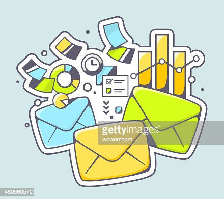 Vector illustration of envelopes and financial documents : Vector Art