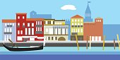Illustration of European cityscape in simple style. Traditional landscape. Houses in the old European style. River channel and boat.