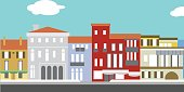 Illustration of European cityscape in simple style. Traditional landscape. Houses in the old European style.
