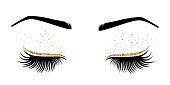Vector illustration of eyes with long eyelashes. For beauty salon, lash extensions maker.