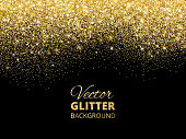 Festive background with falling glitter confetti, golden dust. Sparkling glitter border, vector frame. Great for wedding invitations, party posters, christmas, new year and birthday cards.