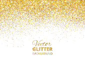 Falling glitter confetti. Vector golden dust isolated on white. Festive background with sparkling glitter border, frame. Great for wedding invitations, party posters, christmas and birthday cards.