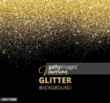 Vector illustration of falling glitter confetti, golden dust. Fe : Vector Art