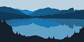 Vector illustration of forest panorama silhouette with lake. Detailed mountain landscape. Background for postcard