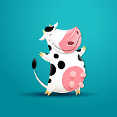 Vector illustration of funny smiling cow. EPS 10 file.