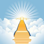 Layered, vector illustration of a stairway leading up through the clouds to the pearly gates. No transparency, with lots of layers for easy editing.