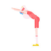 Vector illustration of grandmother making torso forward bending in flat style - healthy and sporty aged female character doing fitness exercises isolated on white background.