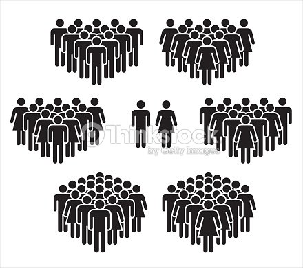Vector illustration of group of stylized people in black. : stock vector